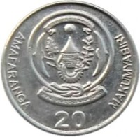 reverse of 20 Francs - Type 2 legend (2009) coin with KM# 35 from Rwanda. Inscription: AMAFARANGA 20 MAKUMYABIRI