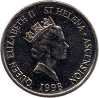 obverse of 5 Pence - Elizabeth II - Smaller; 3'rd Portrait (1998 - 2006) coin with KM# 22 from Saint Helena and Ascension. Inscription: QUEEN ELIZABETH II ST.HELENA + ASCENSION RDM 1998