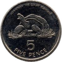 reverse of 5 Pence - Elizabeth II - Smaller; 3'rd Portrait (1998 - 2006) coin with KM# 22 from Saint Helena and Ascension. Inscription: JONATHAN THE GIANT TORTOISE 5 FIVE PENCE