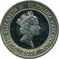 obverse of 2 Pounds - Elizabeth II - 3'rd Portrait (2003 - 2006) coin with KM# 25 from Saint Helena and Ascension. Inscription: QUEEN ELIZABETH II St.HELENA + ASCENSION RDM 2006