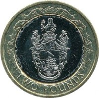 reverse of 2 Pounds - Elizabeth II - 3'rd Portrait (2003 - 2006) coin with KM# 25 from Saint Helena and Ascension. Inscription: TWO POUNDS