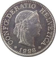 obverse of 10 Rappen (1879 - 2015) coin with KM# 27 from Switzerland. Inscription: CONFŒDERATIO HELVETICA *1982* LIBERTAS