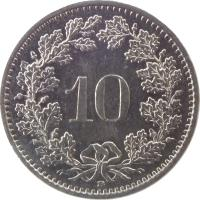 reverse of 10 Rappen (1879 - 2015) coin with KM# 27 from Switzerland. Inscription: 10 B