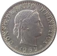 obverse of 20 Rappen (1939 - 2015) coin with KM# 29a from Switzerland. Inscription: CONFŒDERATIO HELVETICA LIBERTAS 1939