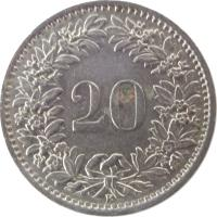 reverse of 20 Rappen (1939 - 2015) coin with KM# 29a from Switzerland. Inscription: 20 B