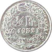 reverse of 1/2 Franc (1875 - 1967) coin with KM# 23 from Switzerland. Inscription: 1/2 Fr. 1878 B