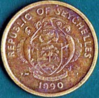 obverse of 10 Cents (1982 - 2003) coin with KM# 48 from Seychelles. Inscription: REPUBLIC OF SEYCHELLES · 1990 · PM