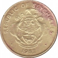 obverse of 5 Cents (1982 - 2003) coin with KM# 47 from Seychelles. Inscription: REPUBLIC OF SEYCHELLES · 1982 ·