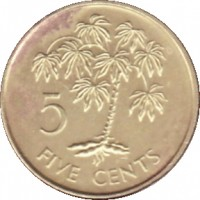 reverse of 5 Cents (1982 - 2003) coin with KM# 47 from Seychelles. Inscription: 5 FIVE CENTS