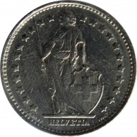 obverse of 1 Franc (1968 - 2015) coin with KM# 24a from Switzerland. Inscription: HELVETIA A. BOVY INCT