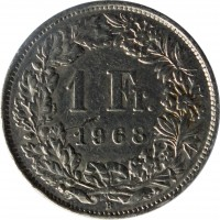 reverse of 1 Franc (1968 - 2015) coin with KM# 24a from Switzerland. Inscription: 1 Fr. 1968