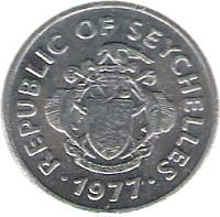 obverse of 1 Cent (1977) coin with KM# 30 from Seychelles. Inscription: REPUBLIC OF SEYCHELLES · 1977 ·
