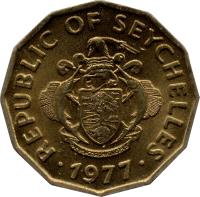 obverse of 10 Cents - FAO (1977) coin with KM# 32 from Seychelles. Inscription: REPUBLIC OF SEYCHELLES · 1977 ·