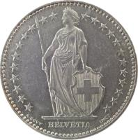 obverse of 2 Francs (1968 - 2015) coin with KM# 21a from Switzerland. Inscription: HELVETIA A. BOVY INCT