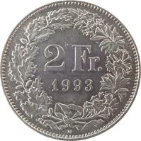 reverse of 2 Francs (1968 - 2015) coin with KM# 21a from Switzerland. Inscription: 2 Fr. 1970