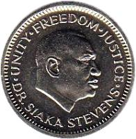 obverse of 5 Cents (1980 - 1984) coin with KM# 33 from Sierra Leone.