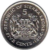 reverse of 5 Cents (1980 - 1984) coin with KM# 33 from Sierra Leone. Inscription: 5 FIVE CENTS 1984