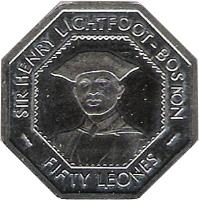 obverse of 50 Leones (1996) coin with KM# 45 from Sierra Leone. Inscription: SIR HENRY LIGHTFOOT-BOSTON FIFTY LEONES