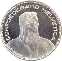 obverse of 5 Francs (1968 - 2019) coin with KM# 40a from Switzerland. Inscription: CONFOEDERATIO HELVETICA P. BVRKHARD INCT