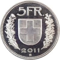 reverse of 5 Francs (1968 - 2019) coin with KM# 40a from Switzerland. Inscription: 5 FR. 2011 B