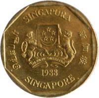 obverse of 1 Dollar - Ribbon upwards (1987 - 1991) coin with KM# 54b from Singapore. Inscription: SINGAPURA 新加坡 SINGAPORE சிங்கப்பூர் MAJULAH SINGAPURA 1990