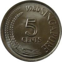 reverse of 5 Cents - Without mintmark; Magnetic (1980 - 1984) coin with KM# 2a from Singapore. Inscription: 1980 SINGAPORE 5 CENTS