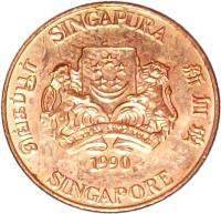 obverse of 1 Cent - Ribbon upwards (1986 - 1990) coin with KM# 49 from Singapore. Inscription: SINGAPURA 新加坡 SINGAPORE சிங்கப்பூர் MAJULAH SINGAPURA 1986