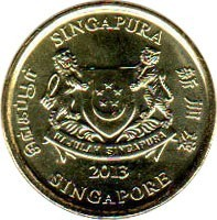 obverse of 5 Cents (2013 - 2015) coin with KM# 345 from Singapore. Inscription: SINGAPURA 新加坡 SINGAPORE சிங்கப்பூர் MAJULAH SINGAPURA 2013