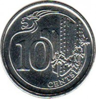 reverse of 10 Cents (2013 - 2014) coin with KM# 346 from Singapore. Inscription: 10 CENTS