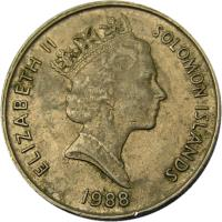 obverse of 10 Cents - Elizabeth II - Non magnetic; 3'rd Portrait (1988) coin with KM# 27 from Solomon Islands. Inscription: ELIZABETH II SOLOMON ISLANDS 1988