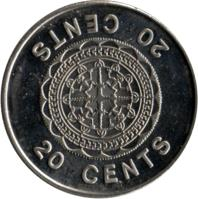reverse of 20 Cents - Elizabeth II - 3'rd Portrait (1987 - 2008) coin with KM# 28 from Solomon Islands. Inscription: 20 CENTS 20 CENTS