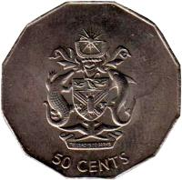 reverse of 50 Cents - Elizabeth II - Non magnetic; 3'rd Portrait (1990 - 2005) coin with KM# 29 from Solomon Islands. Inscription: 50 CENTS