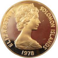 obverse of 20 Cents - Elizabeth II - 2'nd Portrait (1977 - 1983) coin with KM# 5 from Solomon Islands. Inscription: ELIZABETH II SOLOMON ISLANDS 1981