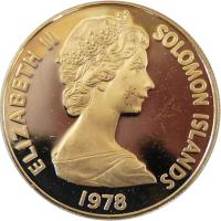 obverse of 10 Cents - Elizabeth II - 2'nd Portrait (1977 - 1983) coin with KM# 4 from Solomon Islands. Inscription: ELIZABETH II SOLOMON ISLANDS 1977