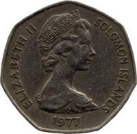 obverse of 1 Dollar - Elizabeth II - 2'nd Portrait (1977 - 1983) coin with KM# 6 from Solomon Islands. Inscription: ELIZABETH II SOLOMON ISLANDS 1977