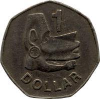 reverse of 1 Dollar - Elizabeth II - 2'nd Portrait (1977 - 1983) coin with KM# 6 from Solomon Islands. Inscription: 1 DOLLAR