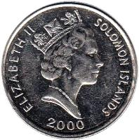 obverse of 10 Cents - Elizabeth II - 3'rd Portrait; Magnetic (1990 - 2010) coin with KM# 27a from Solomon Islands. Inscription: ELIZABETH II SOLOMON ISLANDS 2005