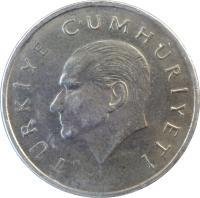 obverse of 25 Bin Lira (1995 - 2000) coin with KM# 1041 from Turkey. Inscription: TÜRKİYE CUMHURİYETİ