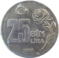 reverse of 25 Bin Lira (1995 - 2000) coin with KM# 1041 from Turkey. Inscription: 25 BİN LİRA 2000