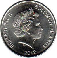 obverse of 10 Cents - Elizabeth II - 4'th Portrait (2012) coin with KM# 235 from Solomon Islands. Inscription: ELIZABETH II SOLOMON ISLANDS 2012