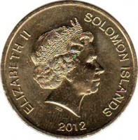 obverse of 2 Dollars - Elizabeth II - 4'th Portrait (2012) coin with KM# 239 from Solomon Islands. Inscription: ELIZABETH II SOLOMON ISLANDS 2012