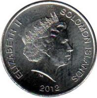 obverse of 20 Cents - Elizabeth II - 4'th Portrait (2012) coin with KM# 236 from Solomon Islands. Inscription: ELIZABETH II SOLOMON ISLANDS 2012