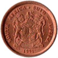 obverse of 1 Cent - SOUTH AFRICA - SUID-AFRIKA (1990 - 1995) coin with KM# 132 from South Africa. Inscription: SOUTH AFRICA SUID-AFRIKA 1999 EX UNITATE VIRES