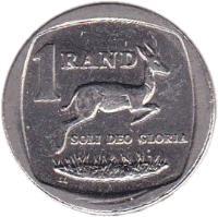 reverse of 1 Rand - NINGIZIMU AFRIKA - AFURIKA TSHIPEMBE (2007) coin with KM# 344 from South Africa. Inscription: 1 RAND SOLI DEO GLORIA LL