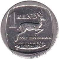 reverse of 1 Rand - NINGIZIMU AFRIKA - AFURIKA TSHIPEMBE (2007) coin with KM# 344 from South Africa. Inscription: 1 RAND SOLI DEO GLORIA LL