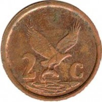 reverse of 2 Cents - AFURIKA TSHIPEMBE (1996 - 2000) coin with KM# 159 from South Africa. Inscription: 2c ALS