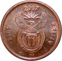 obverse of 5 Cents - SUID AFRICA (2007) coin with KM# 340 from South Africa. Inscription: 2007 Suid-Afrika ALS
