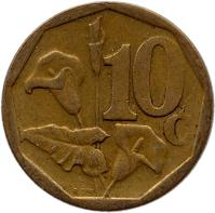 reverse of 10 Cents - SOUTH AFRICA (2000 - 2001) coin with KM# 224 from South Africa. Inscription: 10c RCM