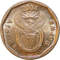obverse of 10 Cents - AFORIKA BORWA (2004) coin with KM# 326 from South Africa. Inscription: 2004 Aforika Borwa ALS