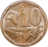 reverse of 10 Cents - AFORIKA BORWA (2004) coin with KM# 326 from South Africa. Inscription: 10c RCM